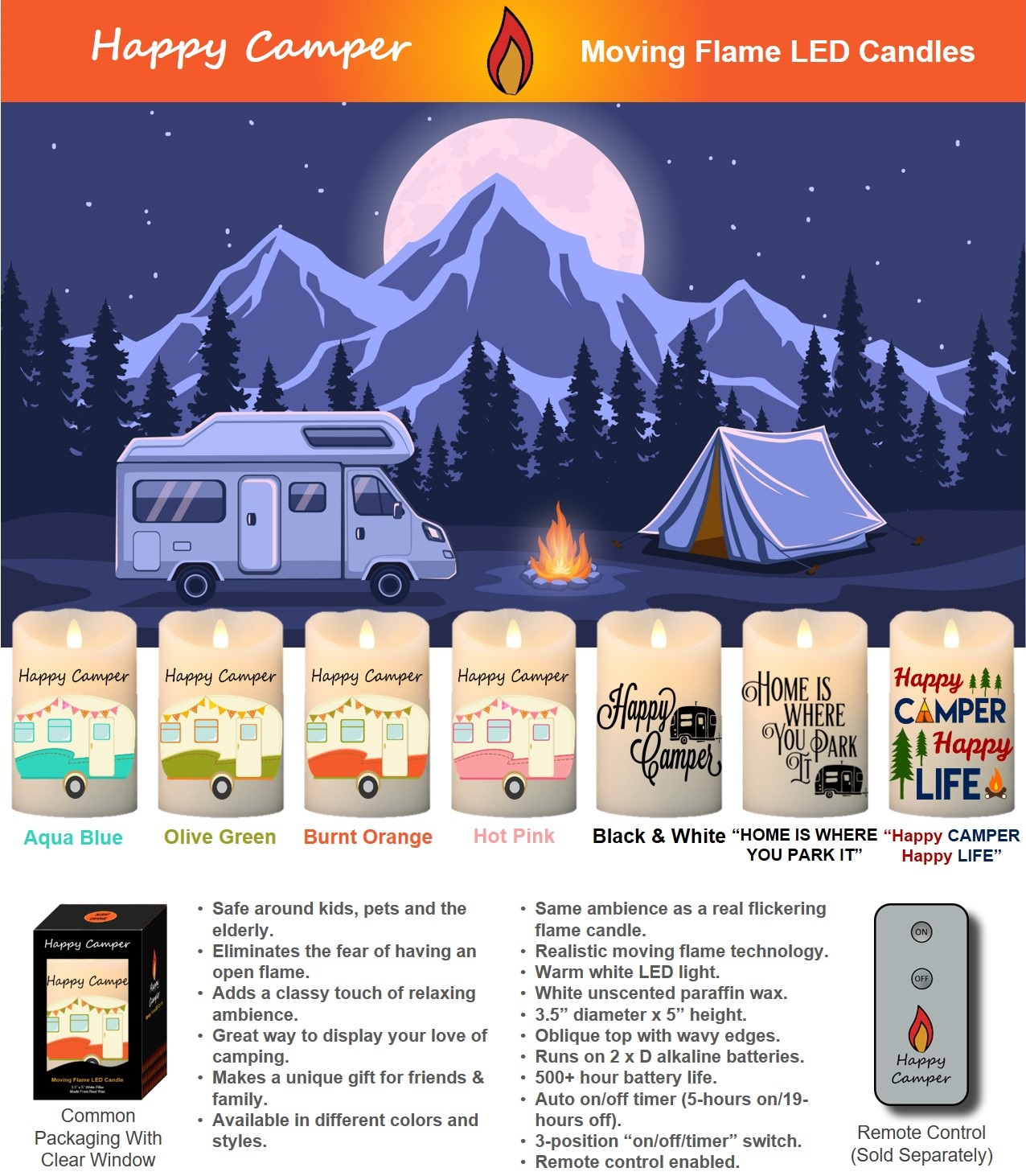 """Happy Camper"" Moving Flame LED Candles Flyer"