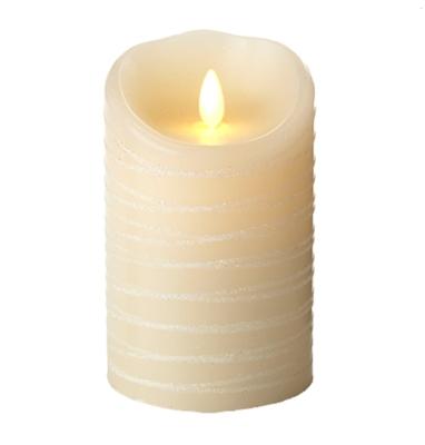 luminara flameless led candle indoor ivory wax spun glitter ribbon 35